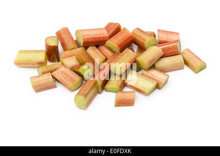 Raw rhubarb isolated on a white studio background. - Stock Photo