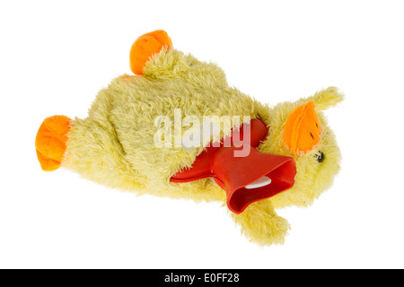 Hot water bog in the shape of a yellow duck - Stock Photo