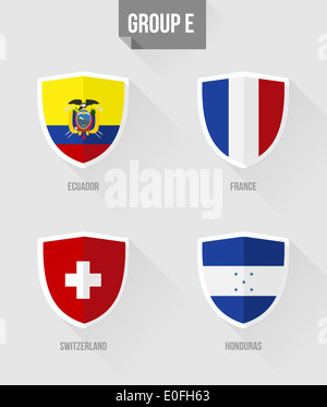 Brazil Soccer Championship 2014. Flat icons for Group E nation flags in shield sign: Ecuador, France, Switzerland, - Stock Photo