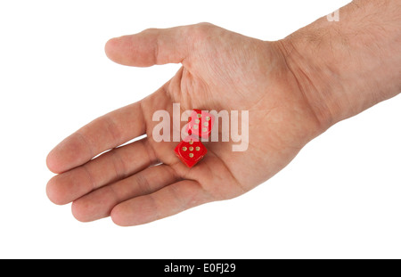 Hand holding red dices, isolated on white - Stock Photo