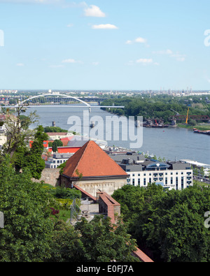 The top view from Bratislava castle of Danube - Stock Photo