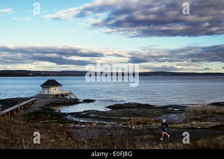 Europe; Norway; Oslo; Winter; Sea, Archipelago; Home; Person; Walk; Run; Relax; Fornebu - Stock Photo