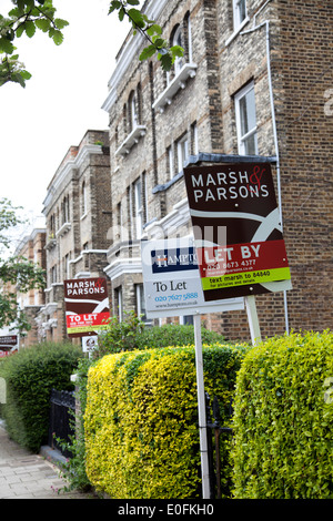 To Let Signs on Road in Clapham SW4 - London UK - Stock Photo