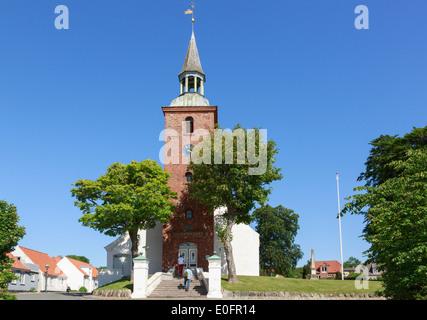 Steps at entrance to Ebeltoft Kirke a church dating to the 15th century. Grønningen, Ebeltoft, Jutland, Denmark, - Stock Photo