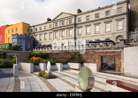 State Apartments of Dublin Castle from the Garda Memorial Garden in Dublin, Republic of Ireland, Eire - Stock Photo