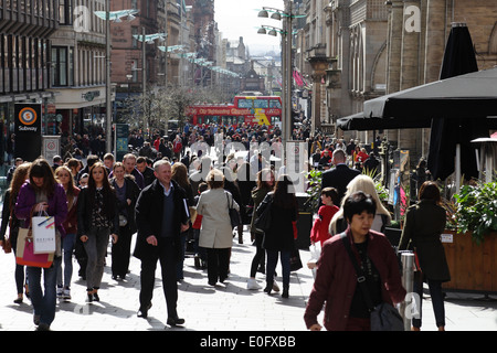 View south to people walking on Buchanan Street in Glasgow city centre, Scotland, UK - Stock Photo