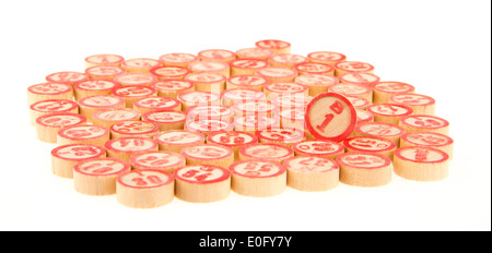 Wooden numbers used for bingo, random choice. Lucky concept - Stock Photo