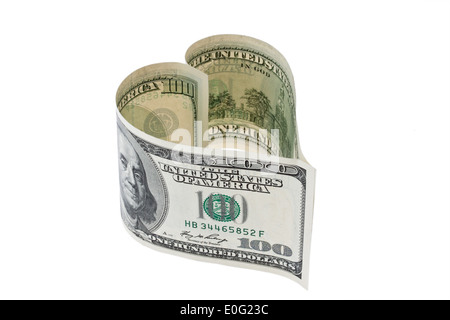 100 dollars of bank note in heart form, 100 Dollar Geldschein in Herzform - Stock Photo