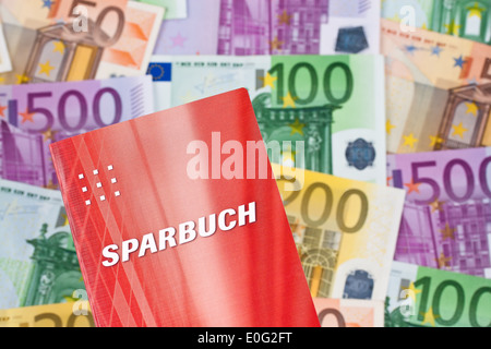 A lot of euro of bank notes with savings book, Viele Euro Geldscheine mit Sparbuch - Stock Photo