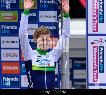 Emma Johansson celebrates winning 2nd place overall in the Friends Life Women's Tour cycle race,Bury St Edmunds,UK.11th - Stock Photo