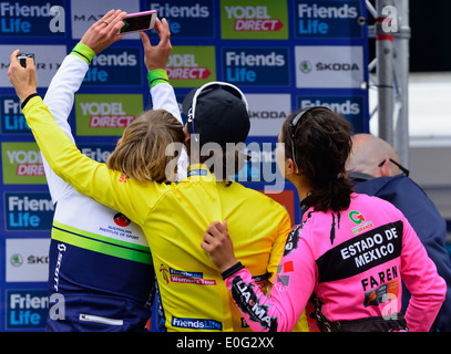 Winners of the womans tour,1st Marianne Vos ,2nd Emma Johannsson and 3rd Rosella Rato take a selfie,Bury St Edmunds - Stock Photo