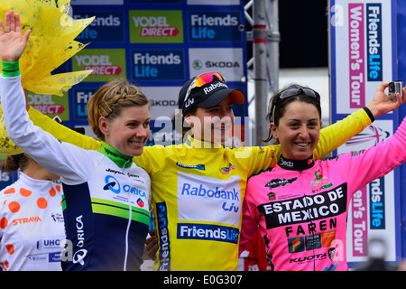 Winners of the womans tour,1st Marianne Vos ,2nd Emma Johannsson and 3rd Rosella Rato celebrate,Bury St Edmunds - Stock Photo