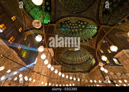 Egypt, Cairo. Mohammed Ali Moschee. Indoor photograph., aegypten, Kairo. Mohammed Ali Moschee. Innenaufnahme. - Stock Photo