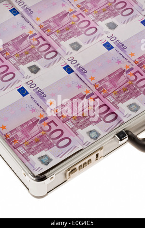 Monetary suitcase with euronotes 500, Geldkoffer mit 500-Euroscheinen - Stock Photo