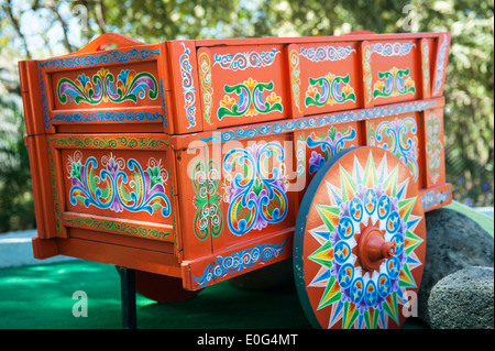 Hand painted and restored traditional wooden Costa Rican Oxcart - Stock Photo