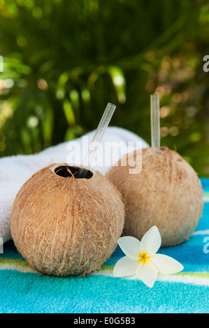 Two coconut water drinks in a tropical spa with palm trees - Stock Photo