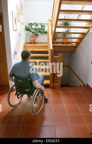 Man in the wheel chair [], barrier, barriers, Hindering, suitable for the handicapped, suitable for the handicapped, - Stock Photo