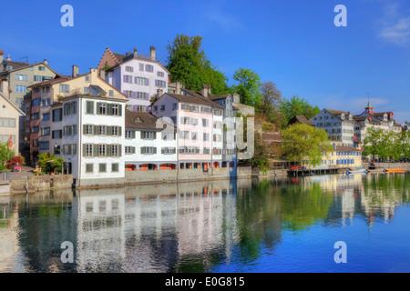Zurich, Schipfe, old town, Limmat, Switzerland - Stock Photo