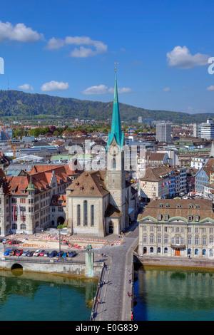 Fraumuenster, church, Limmat, Zurich, Switzerland - Stock Photo