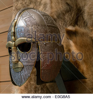 Replica of the Sutton Hoo helmet on display at the Sutton Hoo exhibition, Woodbridge, Suffolk, England, UK - Stock Photo
