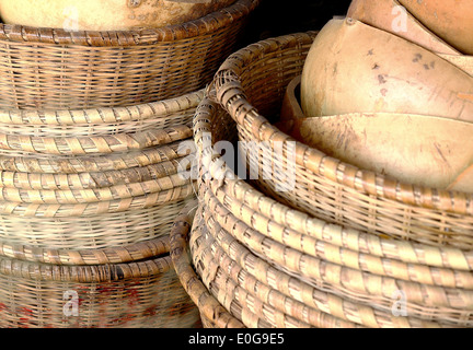 Stacked baskets-Ziguinchor-Senegal - Stock Photo
