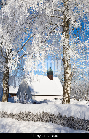 Chapel near Iffeldorf in winter, Upper Bavaria, Germany, Europe - Stock Photo