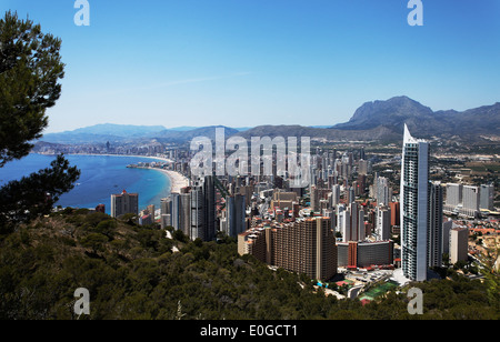 View over the city with sea, Costa Blanca, Benidorm, Province Alicante, Spain - Stock Photo