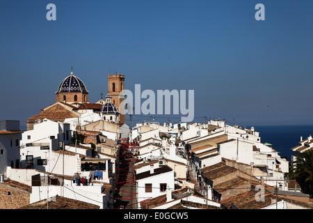 Nuestra Senora del Consuelo church, old town, Altea, Costa Blanca, Benidorm, Province Alicante, Spain - Stock Photo