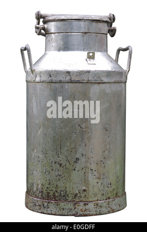 big old metal can on milk on white background - Stock Photo