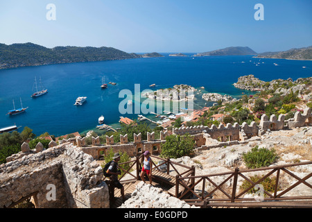 Simena with Kalekoy castle, view to the sunken city of Kekova, lycian coast, Mediterranean Sea, Turkey - Stock Photo