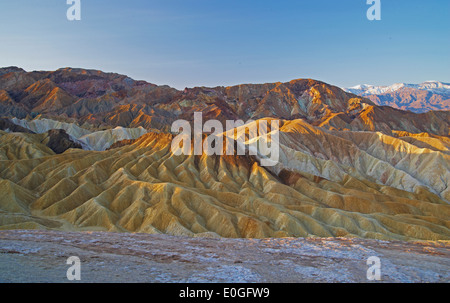 Sunrise at Zabriskie Point, Death Valley, Panamint Mountains, Death Valley National Park, California, USA, America - Stock Photo