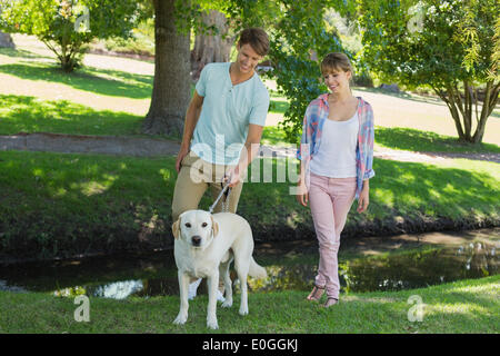 Happy couple walking with their labrador in the park - Stock Photo