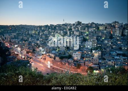 View of capital Amman at night, Jordan, Middle East, Asia - Stock Photo