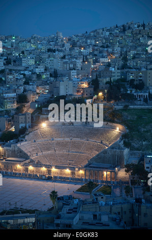 Roman Theatre in the center of the city at night, capital Amman, Jordan, Middle East, Asia - Stock Photo
