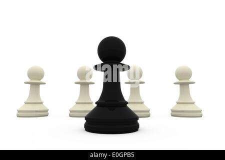 Black pawn standing in front of white pawns - Stock Photo