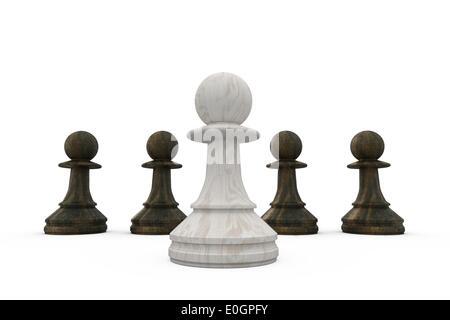 White pawn standing in front of black pawns - Stock Photo