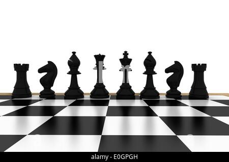 Black chess pieces on board - Stock Photo
