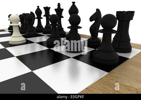 Black chess pieces on board with white pawn - Stock Photo