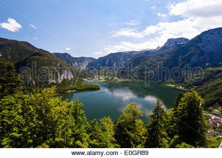 Hallstatt lake, Salzkammergut, Alps, Upper Austria, Austria, Europe - Stock Photo