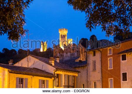 Borghetto with castle at dusk, Valeggio sul Mincio, Veneto, Italy - Stock Photo