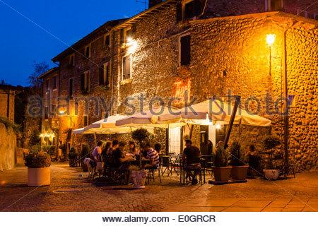 Borghetto at dusk, Valeggio sul Mincio, Veneto, Italy - Stock Photo