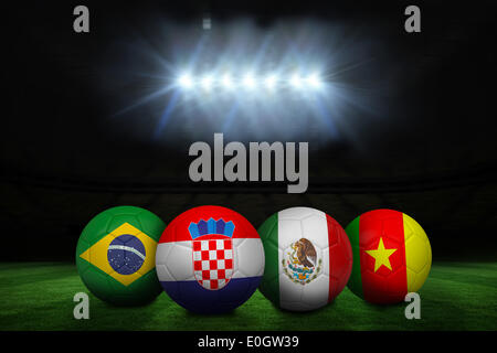 Group a world cup footballs - Stock Photo