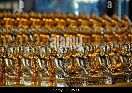 Little Buddha statues in the Shwedagon Pagoda, Yangon, Myanmar, Burma, Asia - Stock Photo