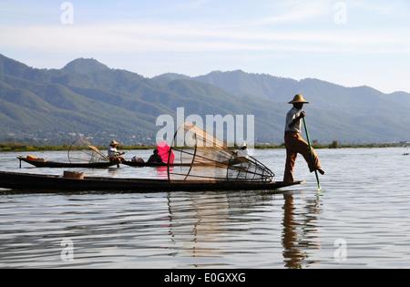 Fisherman on the Inle Lake, Myanmar, Burma, Asia - Stock Photo