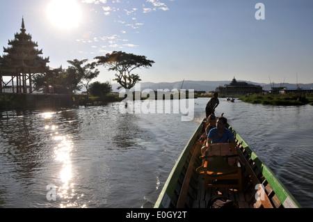 In Nga Phe Chaung on the Inle Lake, Myanmar, Burma, Asia - Stock Photo