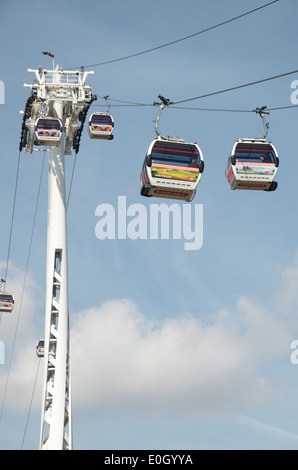 Emirates Airline Cable Car over the River Thames, Greenwich Peninsula, London - Stock Photo