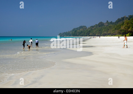 India, Andaman and Nicobar, Havelock Island, Radha Nagar Number 7 beach Indian tourists in sea - Stock Photo