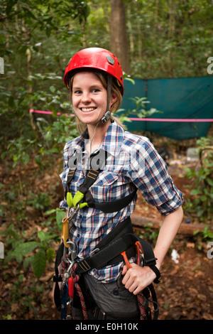 Indonesia, Sulawesi, Lambusango forest reserve, canopy access student - Stock Photo