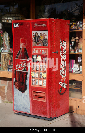 An old Vintage Coca cola machine outside a shop in Boulder city, Nevada, USA - Stock Photo