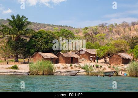 Kalolwa, village at lake Tanganyika, Mahale Mountains National Park, Tanzania, East Africa, Africa - Stock Photo